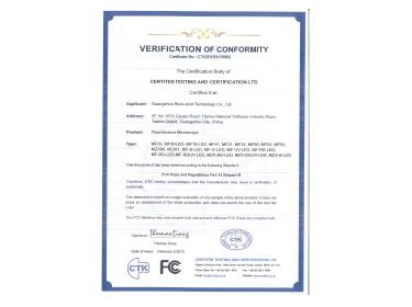 Fluorescence Microscope FCC Certificate