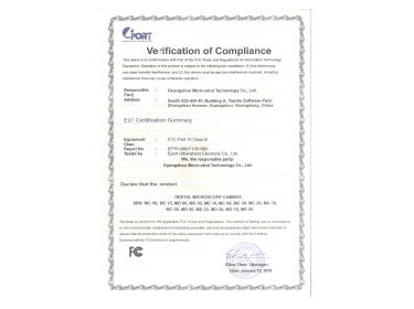 Microscope Camera FCC Certificate