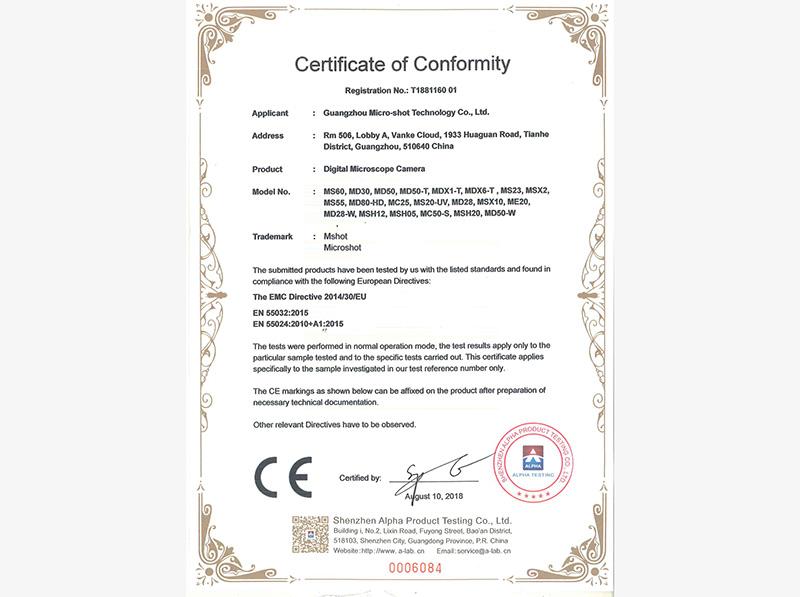 Mshot camera CE certificate